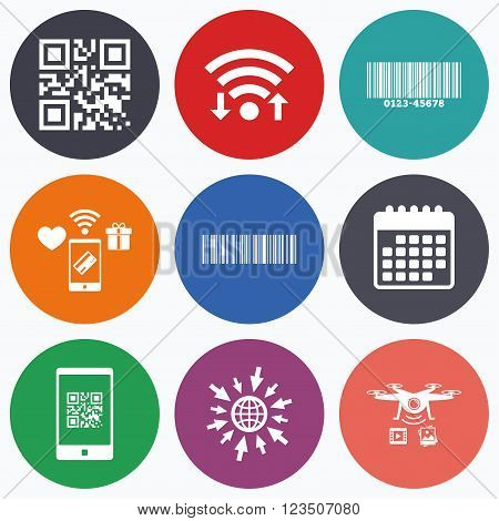 Wifi, mobile payments and drones icons. Bar and Qr code icons. Scan barcode in smartphone symbols. Calendar symbol.