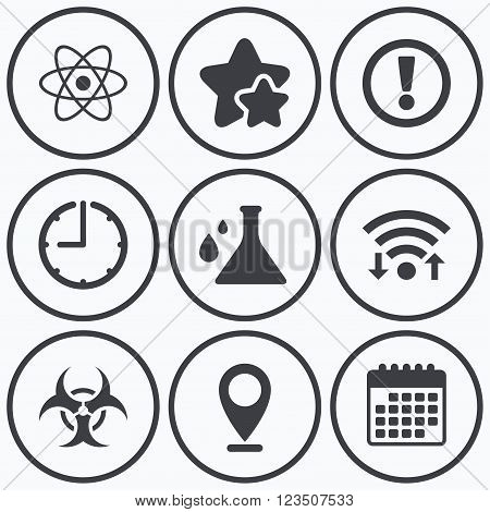 Clock, wifi and stars icons. Attention and biohazard icons. Chemistry flask sign. Atom symbol. Calendar symbol.