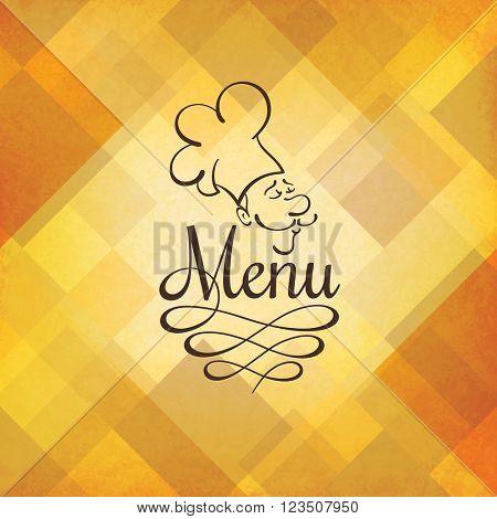 Retro restaurant menu design with funny chef