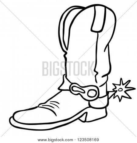 simple black and white cowboy boot