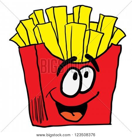 happy french fries cartoon