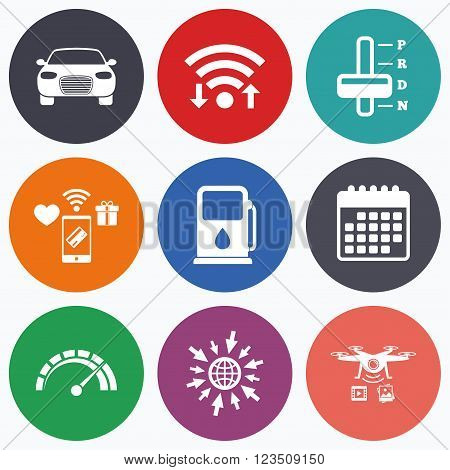 Wifi, mobile payments and drones icons. Transport icons. Car tachometer and automatic transmission symbols. Petrol or Gas station sign. Calendar symbol.