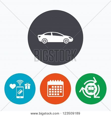Car sign icon. Sedan saloon symbol. Transport. Mobile payments, calendar and wifi icons. Bus shuttle.