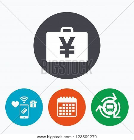Case with Yen JPY sign icon. Briefcase button. Mobile payments, calendar and wifi icons. Bus shuttle.