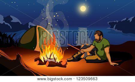 illustration of man sitting near fire on beach at night