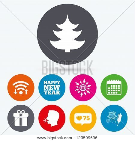 Wifi, like counter and calendar icons. Happy new year icon. Christmas tree and gift box signs. Fireworks rocket symbol. Human talk, go to web.