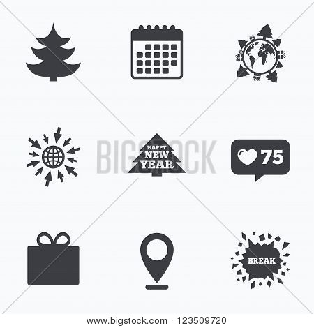 Calendar, like counter and go to web icons. Happy new year icon. Christmas trees and gift box signs. World globe symbol. Location pointer.