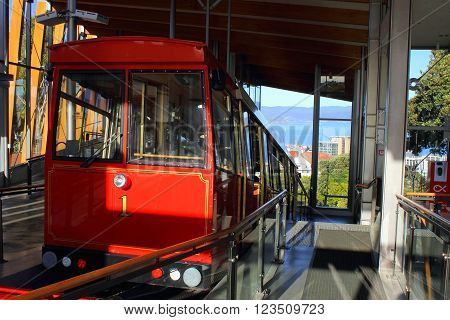 Wellington, New Zealand - November 5, 2015: Wellington Cable Car at the top  of the Botanical Gardens