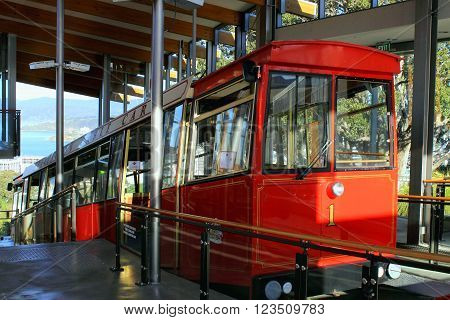 Wellington New Zealand - November 5 2015: Wellington Cable Car at the top of the Botanical Gardens