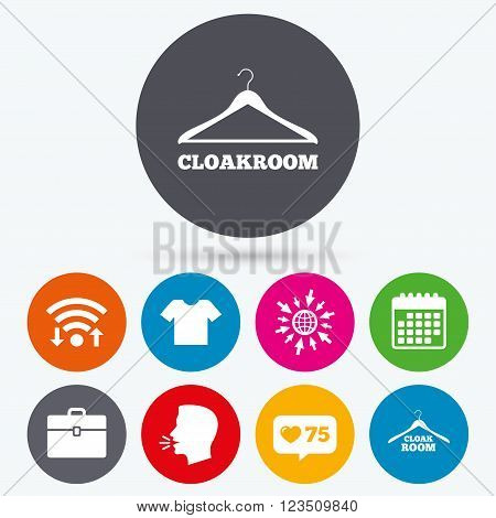Wifi, like counter and calendar icons. Cloakroom icons. Hanger wardrobe signs. T-shirt clothes and baggage symbols. Human talk, go to web.