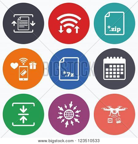 Wifi, mobile payments and drones icons. Archive file icons. Compressed zipped document signs. Data compression symbols. Calendar symbol.