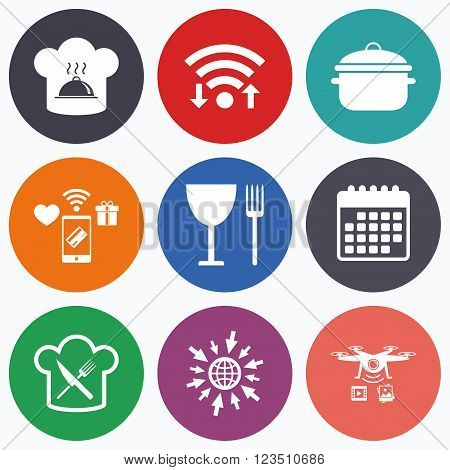 Wifi, mobile payments and drones icons. Chief hat and cooking pan icons. Crosswise fork and knife signs. Boil or stew food symbols. Calendar symbol.