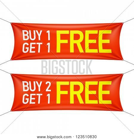 Buy one or two and get one for free banners. Vector illustration.