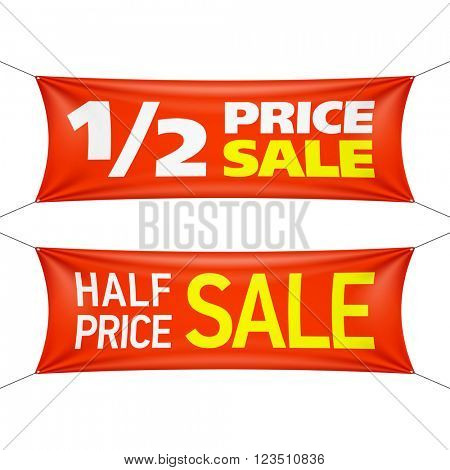 Half price banners. Vector illustration.