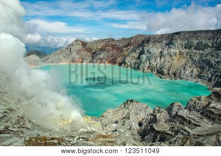 The sulfuric lake of Kawah Ijen vulcano in East Java Indonesia