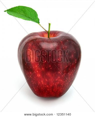 manzana roja fresca con hoja verde