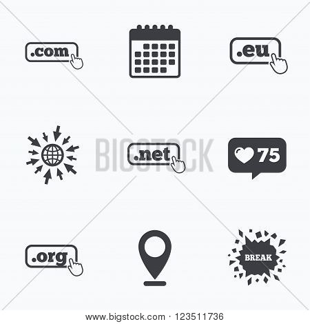 Calendar, like counter and go to web icons. Top-level internet domain icons. Com, Eu, Net and Org symbols with hand pointer. Unique DNS names. Location pointer.