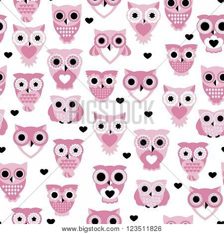 Seamless colorful owls love for kids owl bird pattern scandinavian retro pastel beige background pattern in vector