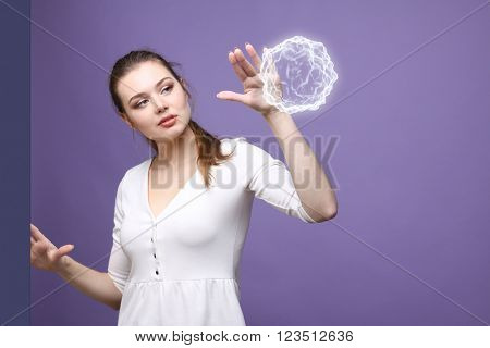 Woman with glowing magical energy ball.