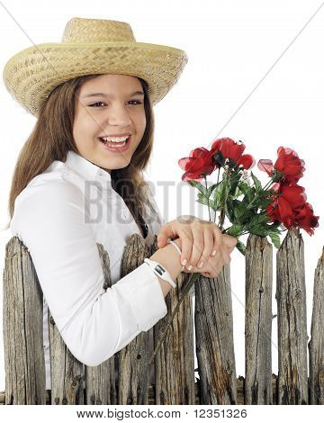 Country Girl with Roses
