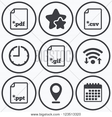 Clock, wifi and stars icons. Download document icons. File extensions symbols. PDF, GIF, CSV and PPT presentation signs. Calendar symbol.