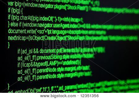 green html code on black screen