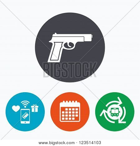 Gun sign icon. Firearms weapon symbol. Mobile payments, calendar and wifi icons. Bus shuttle.