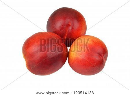 Three ripe peach isolated on white background