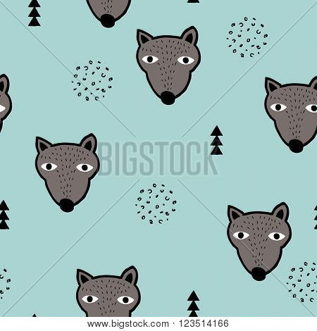 Seamless scandinavian woodland grizzly bears geometric animals for kids illustration background pattern in vector blue brown