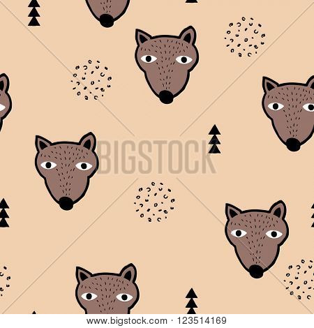 Seamless scandinavian woodland grizzly bears geometric animals for kids illustration background pattern in vector beige brown