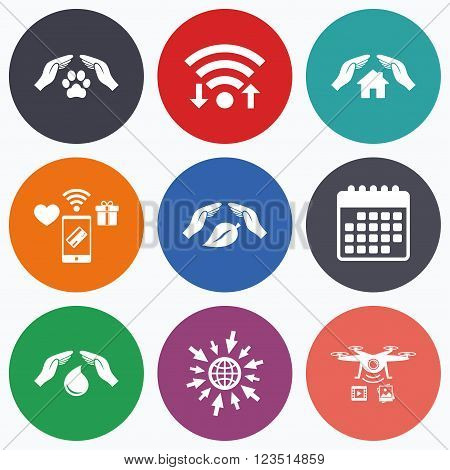 Wifi, mobile payments and drones icons. Hands insurance icons. Shelter for pets dogs symbol. Save water drop symbol. House property insurance sign. Calendar symbol.
