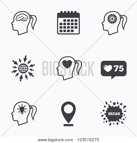 Calendar, like counter and go to web icons. Head with brain and idea lamp bulb icons. Female woman think symbols. Cogwheel gears signs. Love heart. Location pointer.