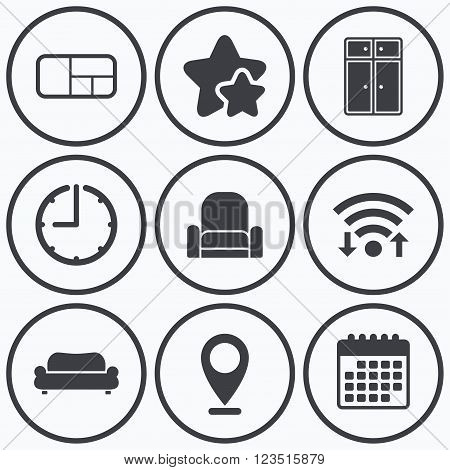 Clock, wifi and stars icons. Furniture icons. Sofa, cupboard, and book shelf signs. Modern armchair symbol. Calendar symbol.