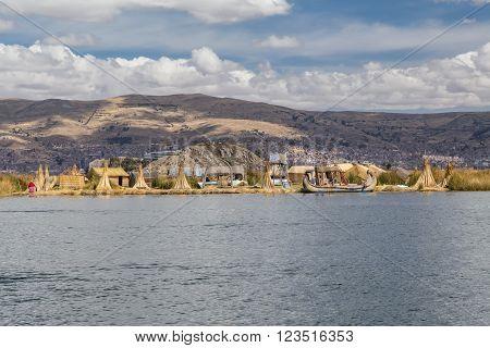 Puno, Peru - Circa June 2015: Uros Floating Island And Village On Lake Titicaca Near Puno,  Peru
