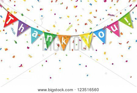 Bunting colorful flags and confetti with letters Thank You