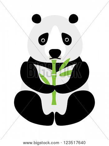 Cartoon panda sitting and eating bamboo animal bear funny vector.
