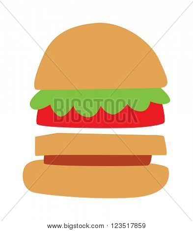 Hamburger with meat, lettuce and cheese sandwich fast food vector.