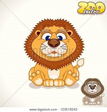 Cute Cartoon Baby Lion. Vector Illustration Zoo