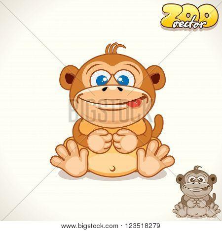 Cute Cartoon Funky Monkey. Vector Illustration Zoo