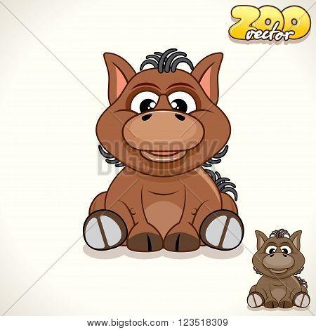 Cute Cartoon Little Pony. Vector Illustration Zoo