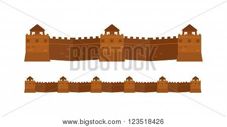 Great Chinese Wall old architecture famous attributes vector.