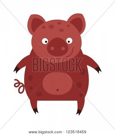 Happy smiling little baby cartoon pig animal farm vector.