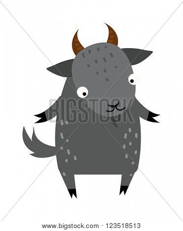 Cute cartoon gray goat mammal farm animal vector.