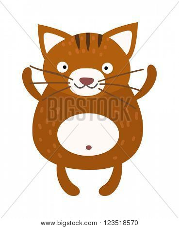 Cute furry cat sitting alone home animal vector.