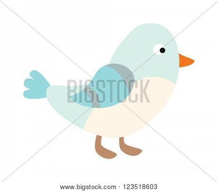 Cute blue bird cartoon animal character vector.