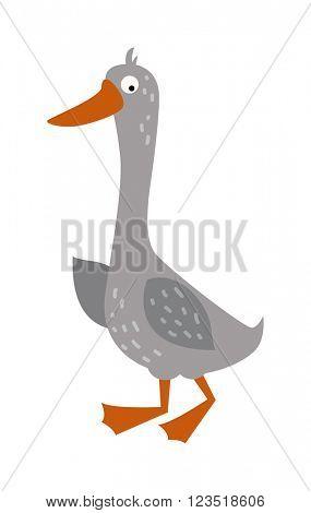 Cartoon goose with big eyes and yellow beak farm animal vector.