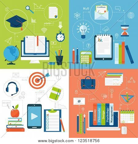 Online education flat icons vector set of distance school and webinar symbols.