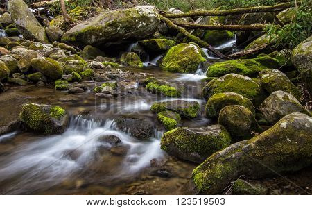 Great Smoky Mountain Stream. Stream flows through the wilderness of the America's most popular national park in the Great Smoky Mountains in Gatlinburg, Tennessee.