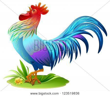 Blue bird cock. Blue Rooster symbol 2017 year on east horoscope. Illustration in vector format