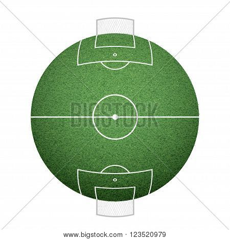 Icon round soccer field on the sphere. lawn texture. Stock vector illustration.